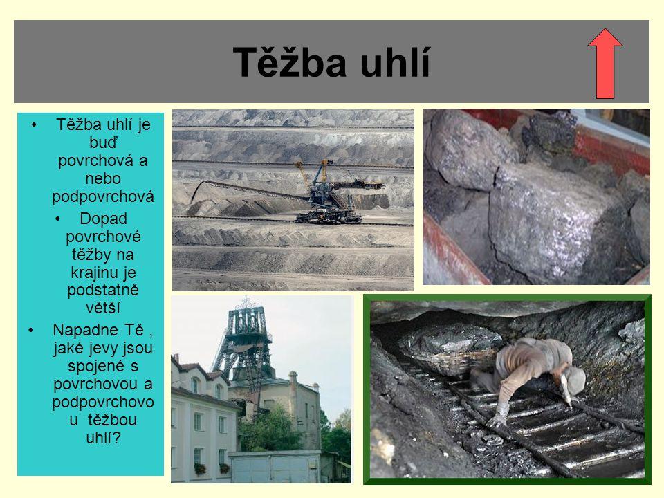 Těžba uhlí Těžba uhlí je buď povrchová a nebo podpovrchová