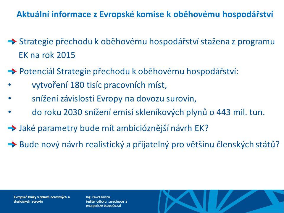 Aktuální informace z Evropské komise k oběhovému hospodářství