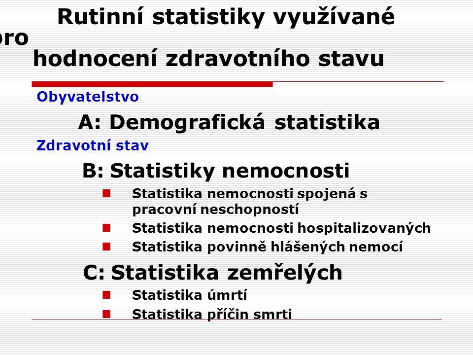 Rutinní statistiky využívané pro hodnocení zdravotního stavu