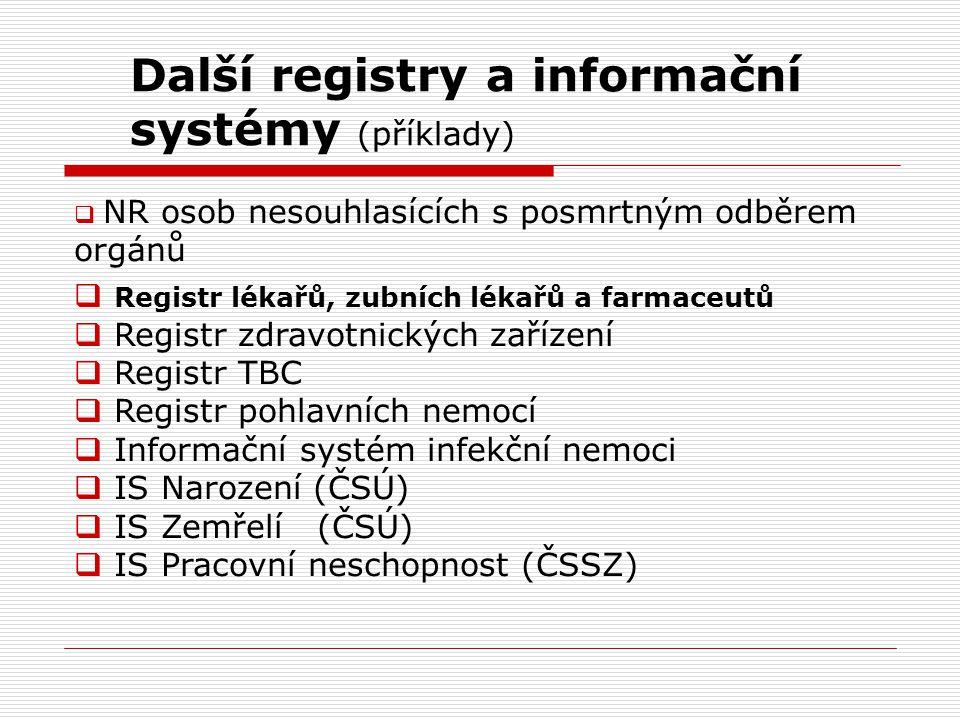 Další registry a informační systémy (příklady)