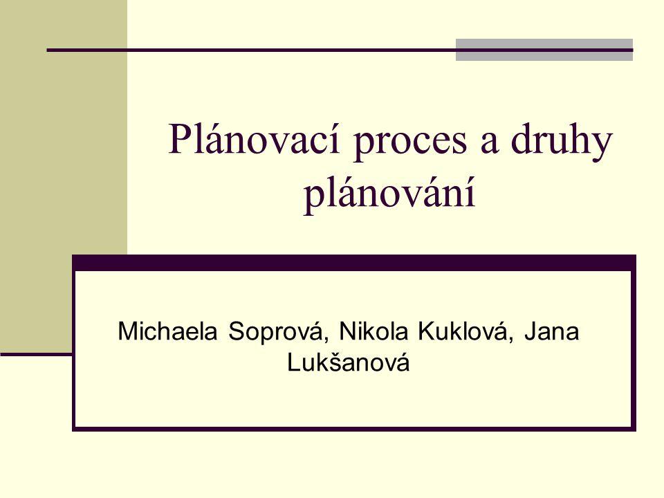 Plánovací proces a druhy plánování