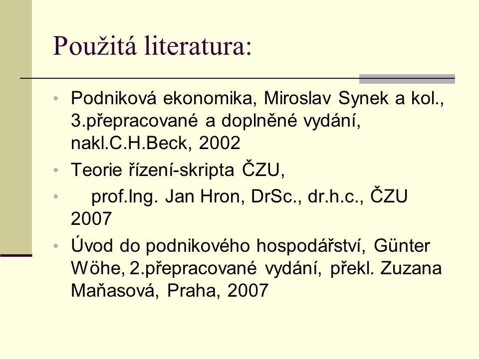 Použitá literatura: Podniková ekonomika, Miroslav Synek a kol., 3.přepracované a doplněné vydání, nakl.C.H.Beck, 2002.