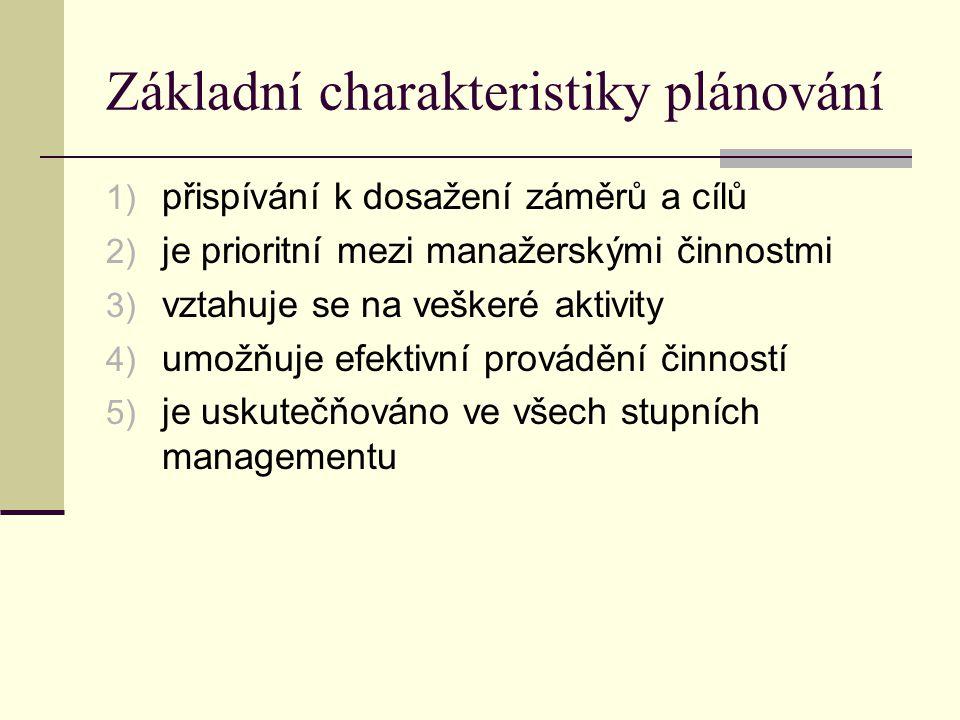 Základní charakteristiky plánování