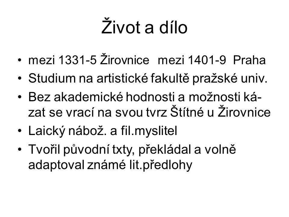 Život a dílo Studium na artistické fakultě pražské univ.