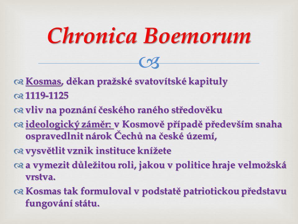 Chronica Boemorum Kosmas, děkan pražské svatovítské kapituly 1119-1125