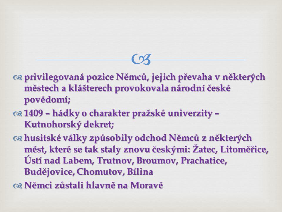 privilegovaná pozice Němců, jejich převaha v některých městech a klášterech provokovala národní české povědomí;