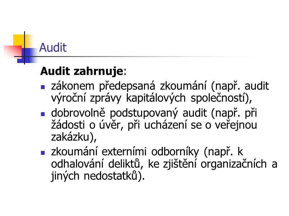 Audit Audit zahrnuje: zákonem předepsaná zkoumání (např. audit výroční zprávy kapitálových společností),