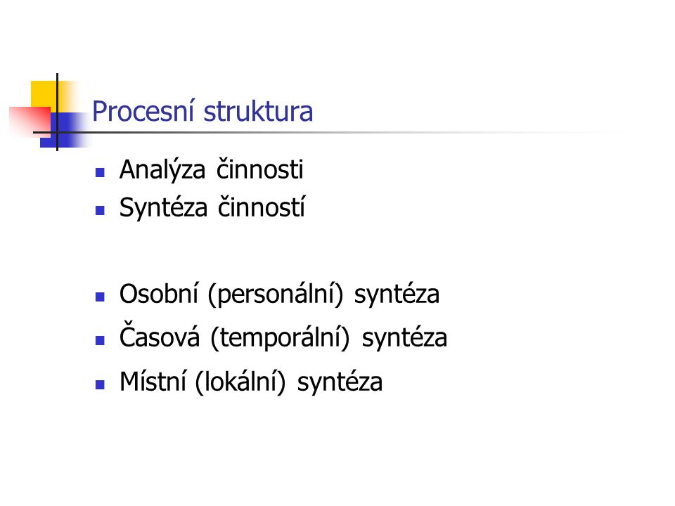 Procesní struktura Analýza činnosti Syntéza činností