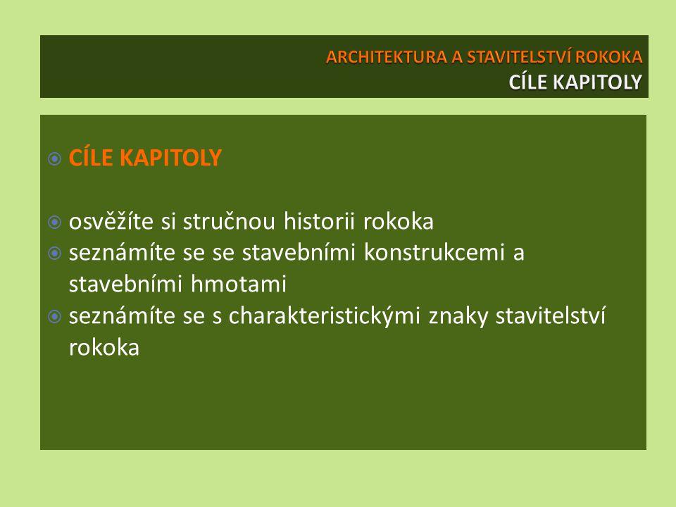 ARCHITEKTURA A STAVITELSTVÍ ROKOKA CÍLE KAPITOLY