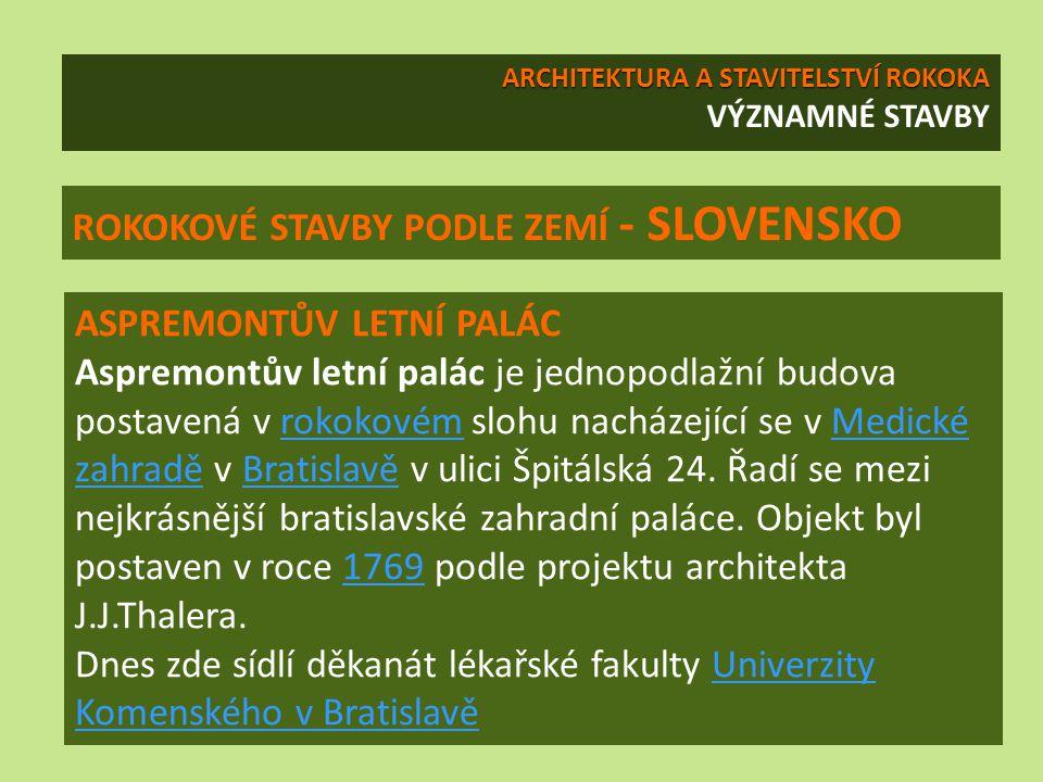 ROKOKOVÉ STAVBY PODLE ZEMÍ - SLOVENSKO