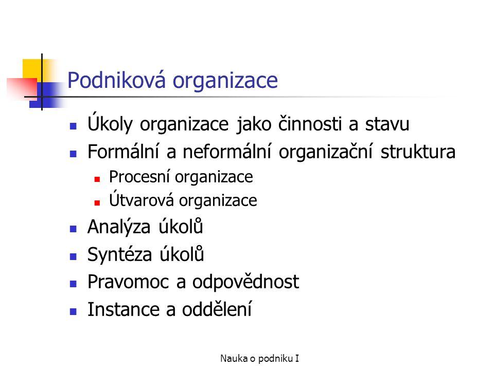 Podniková organizace Úkoly organizace jako činnosti a stavu