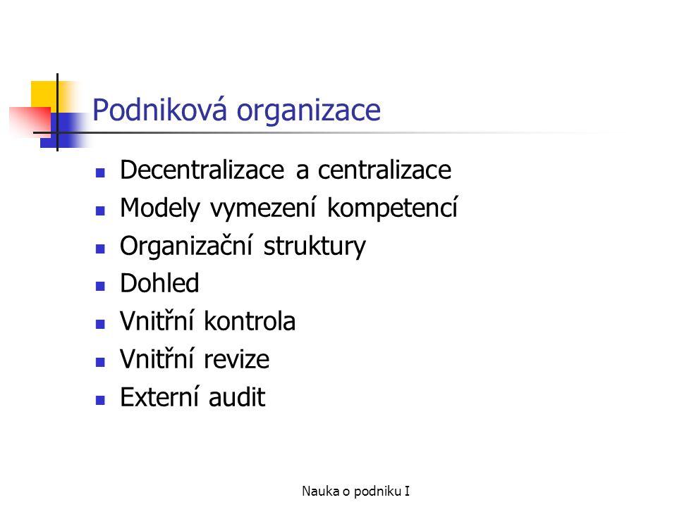Podniková organizace Decentralizace a centralizace
