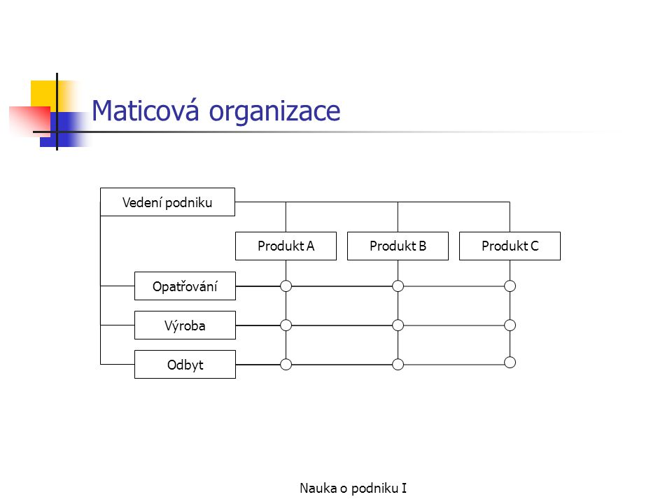 Maticová organizace Vedení podniku Opatřování Výroba Odbyt Produkt A