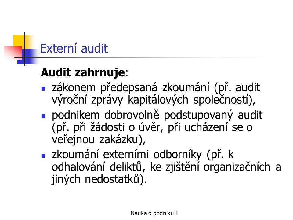 Externí audit Audit zahrnuje: