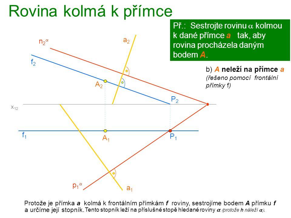 Rovina kolmá k přímce Př.: Sestrojte rovinu a kolmou k dané přímce a tak, aby rovina procházela daným bodem A.