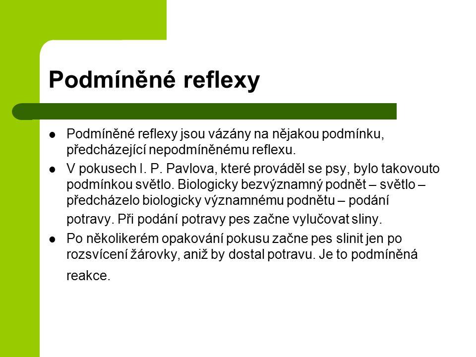 Podmíněné reflexy Podmíněné reflexy jsou vázány na nějakou podmínku, předcházející nepodmíněnému reflexu.