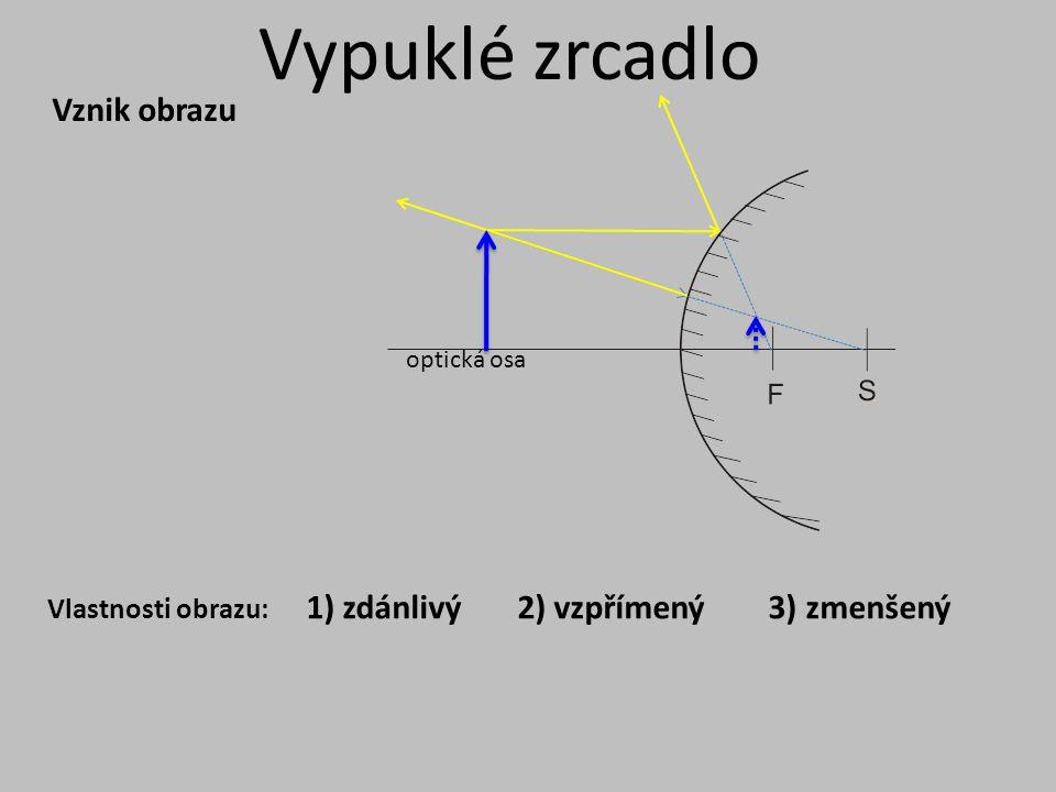 Vypuklé zrcadlo Vznik obrazu 1) zdánlivý 2) vzpřímený 3) zmenšený