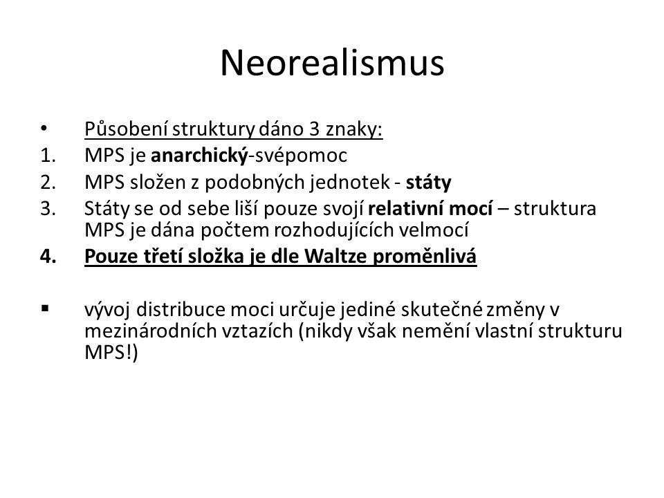Neorealismus Působení struktury dáno 3 znaky: