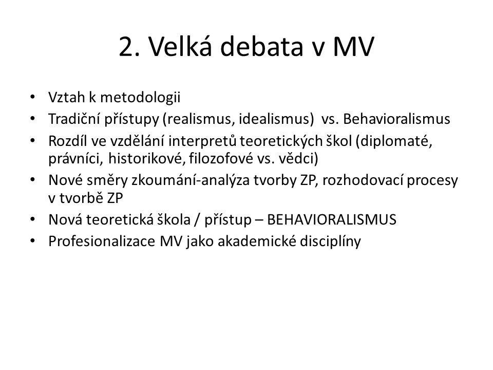 2. Velká debata v MV Vztah k metodologii