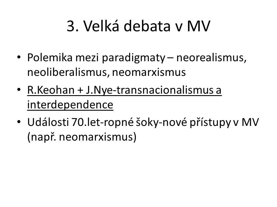 3. Velká debata v MV Polemika mezi paradigmaty – neorealismus, neoliberalismus, neomarxismus. R.Keohan + J.Nye-transnacionalismus a interdependence.