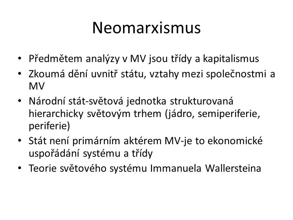 Neomarxismus Předmětem analýzy v MV jsou třídy a kapitalismus