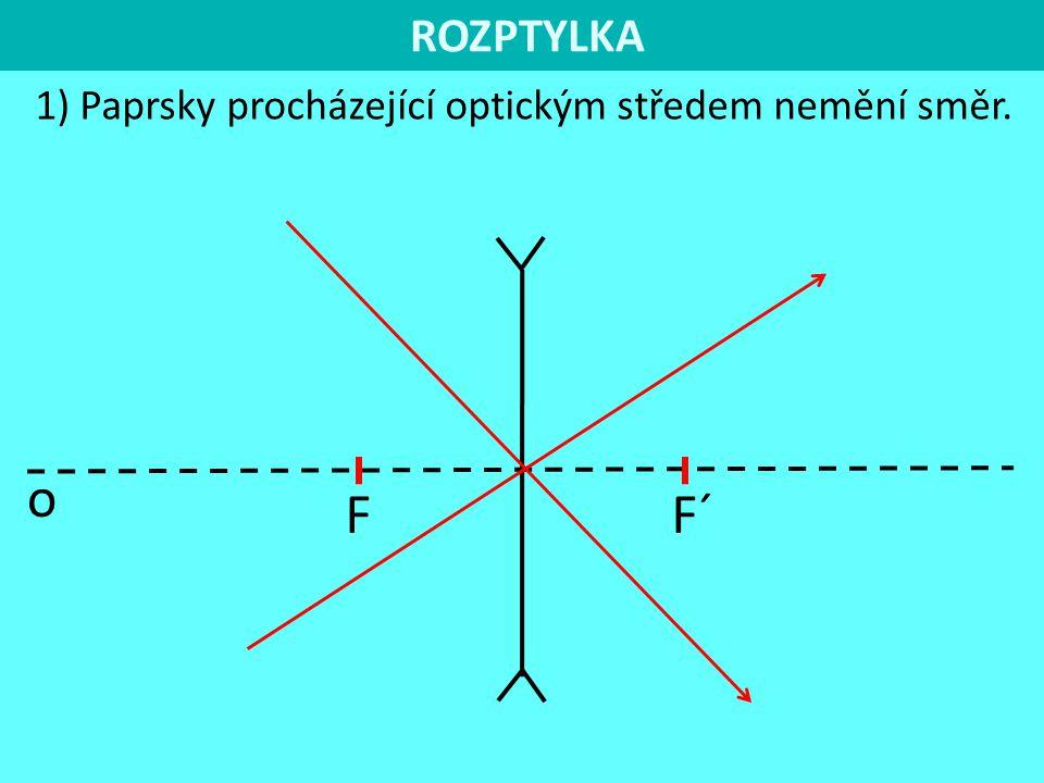 ROZPTYLKA 1) Paprsky procházející optickým středem nemění směr. F F´ o
