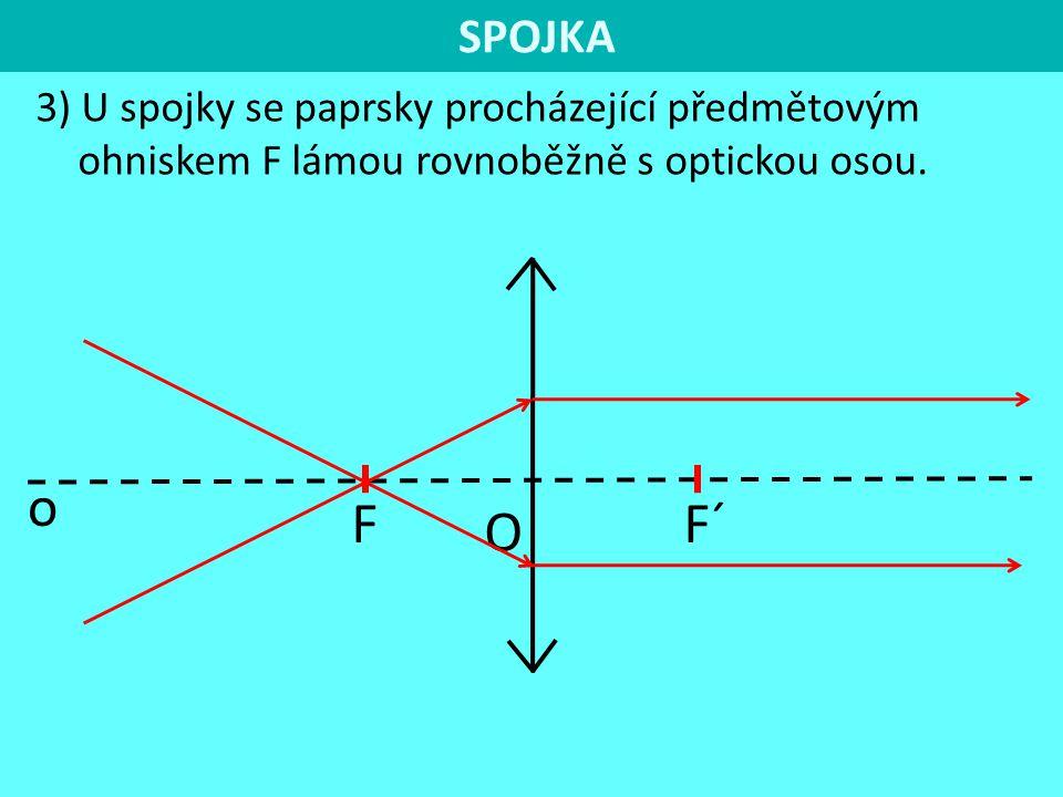 SPOJKA 3) U spojky se paprsky procházející předmětovým ohniskem F lámou rovnoběžně s optickou osou.