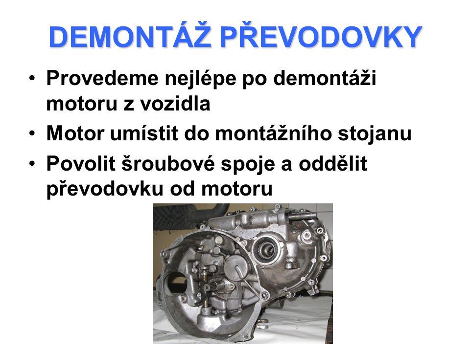 DEMONTÁŽ PŘEVODOVKY Provedeme nejlépe po demontáži motoru z vozidla