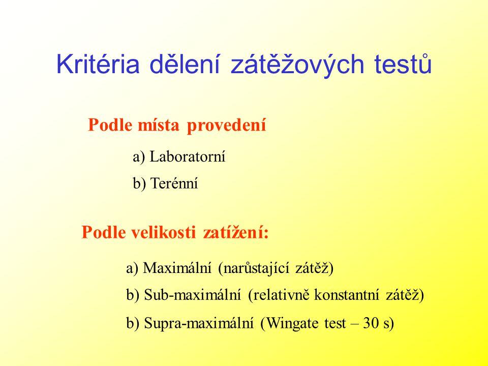 Kritéria dělení zátěžových testů