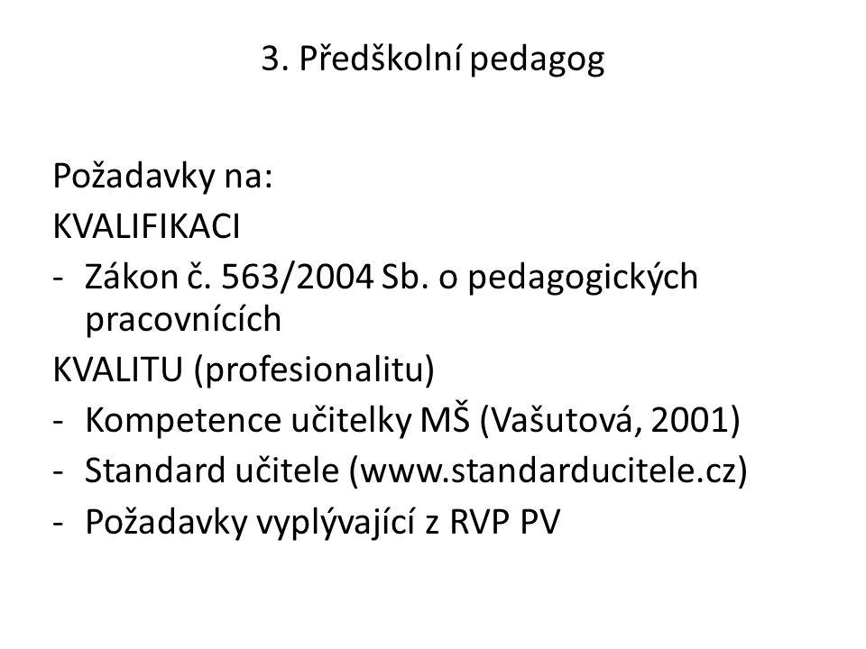 3. Předškolní pedagog Požadavky na: KVALIFIKACI. Zákon č. 563/2004 Sb. o pedagogických pracovnících.