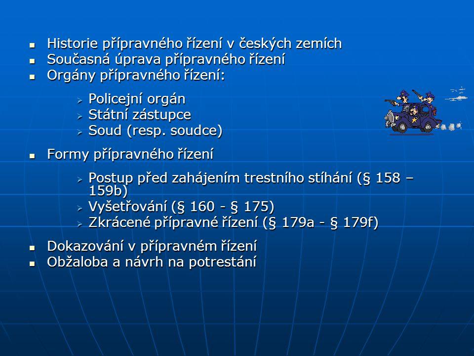 Historie přípravného řízení v českých zemích
