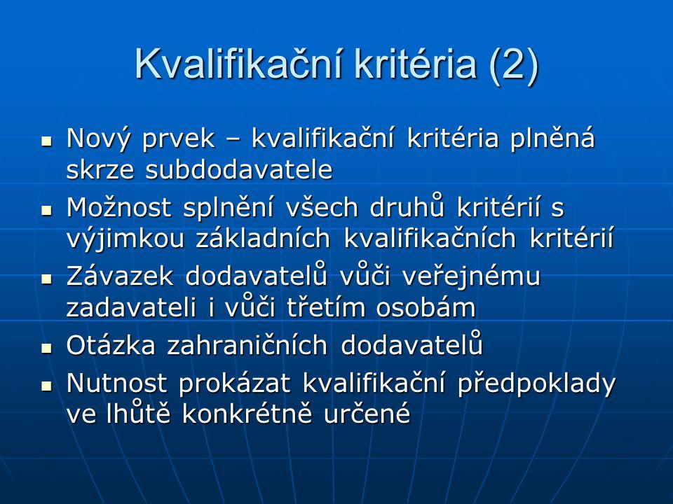 Kvalifikační kritéria (2)