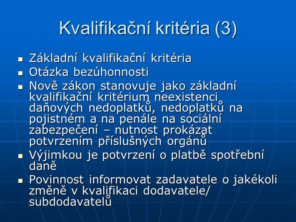 Kvalifikační kritéria (3)