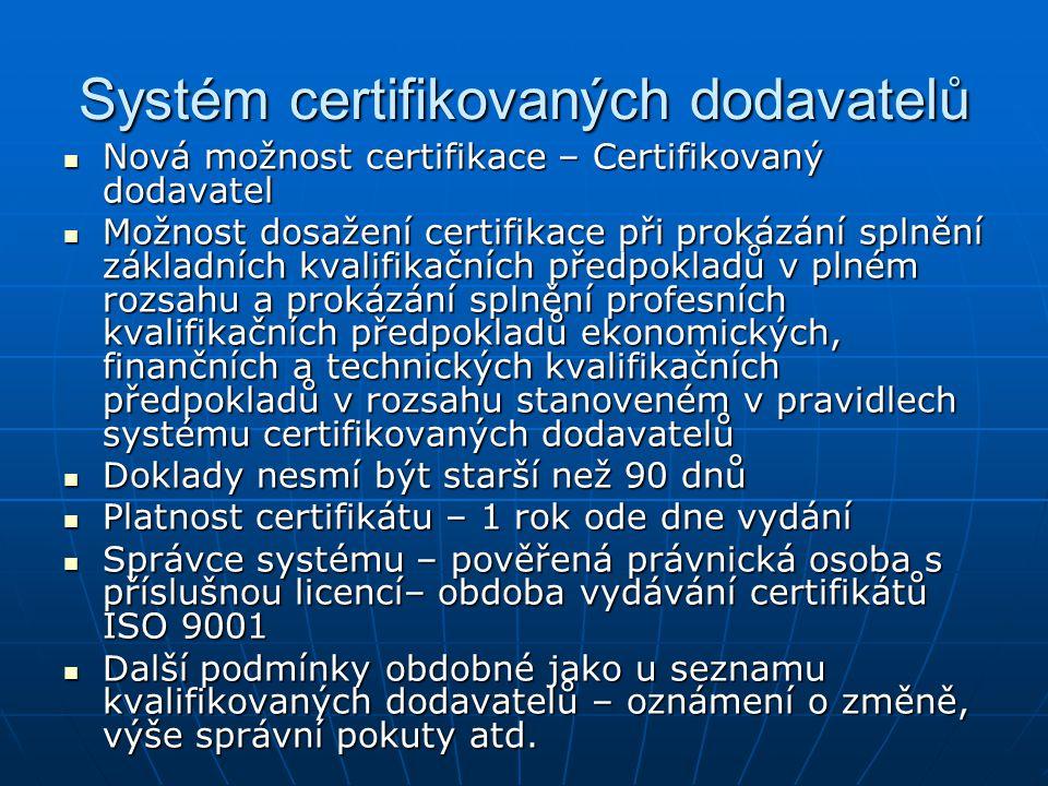 Systém certifikovaných dodavatelů