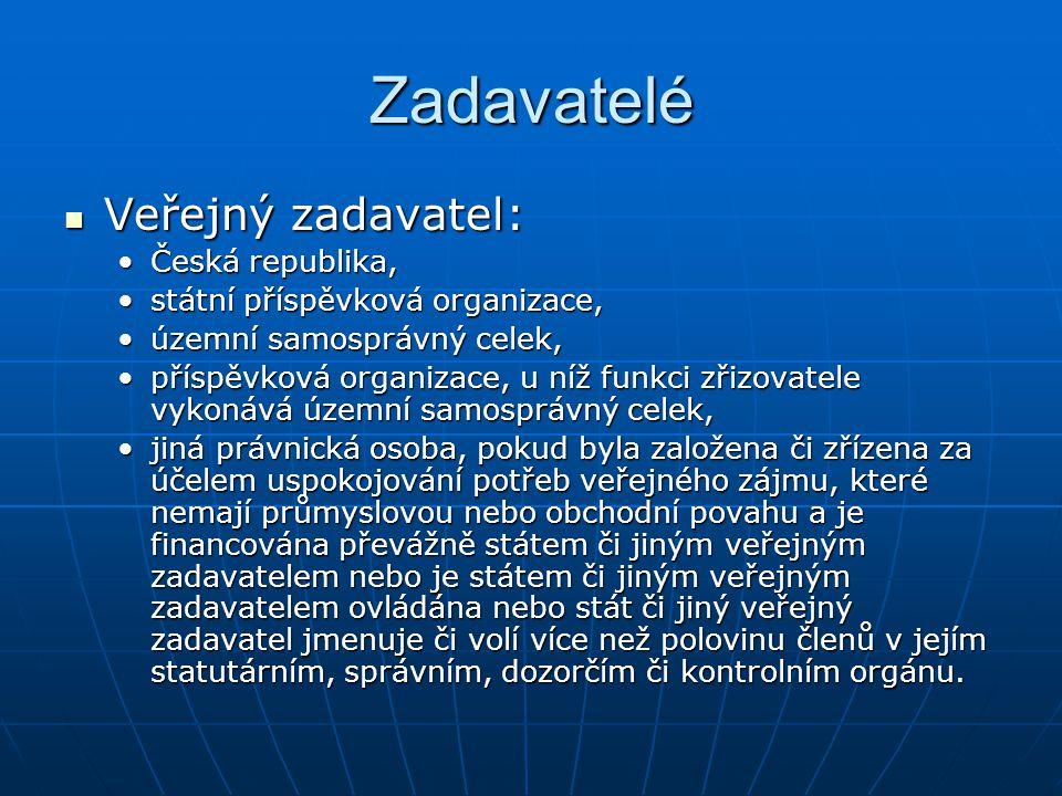 Zadavatelé Veřejný zadavatel: Česká republika,