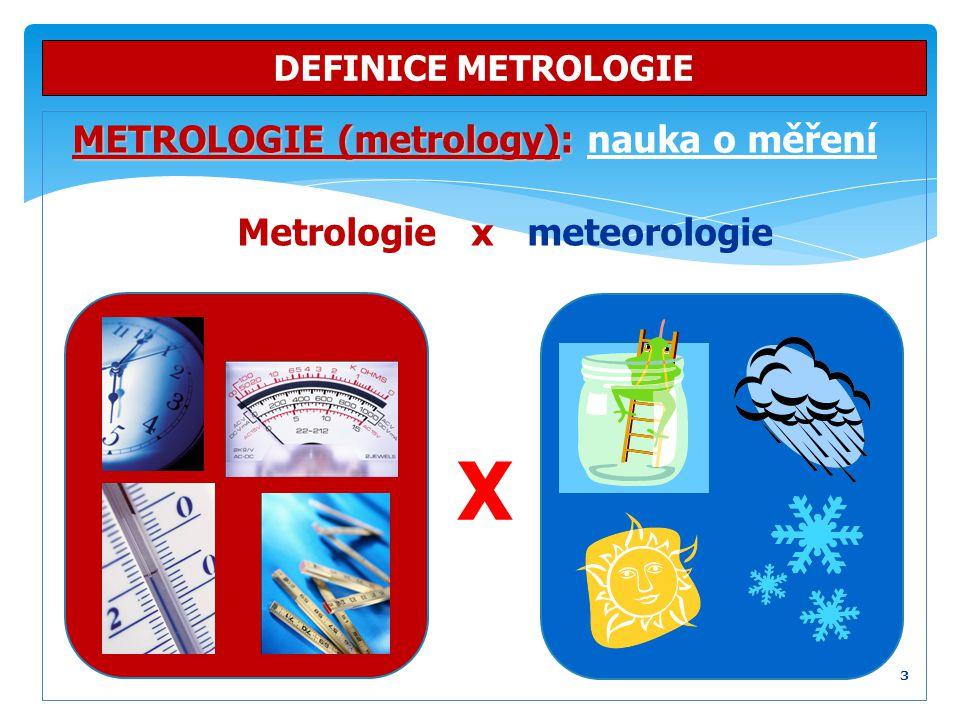 X METROLOGIE (metrology): nauka o měření Metrologie x meteorologie