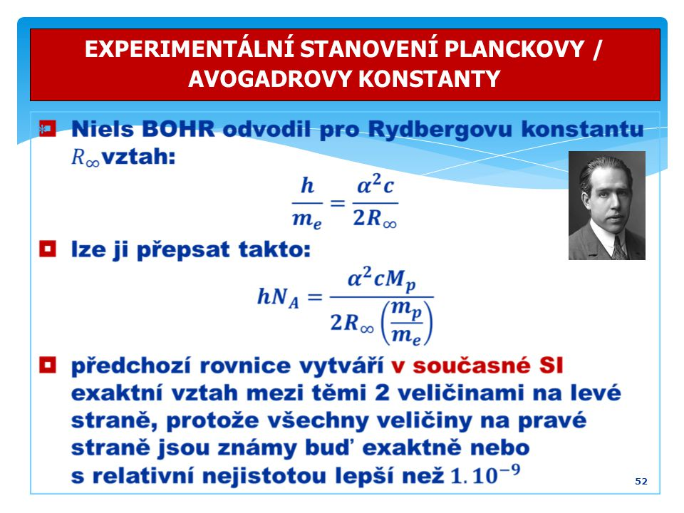 EXPERIMENTÁLNÍ STANOVENÍ PLANCKOVY / AVOGADROVY KONSTANTY