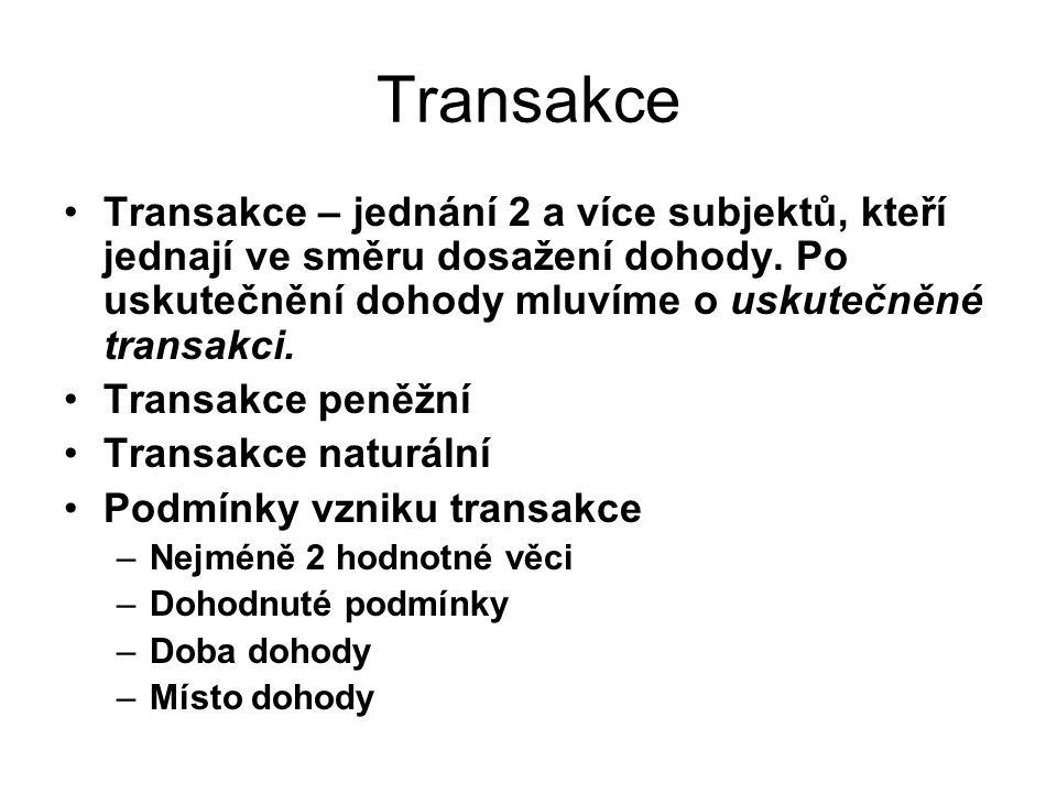 Transakce Transakce – jednání 2 a více subjektů, kteří jednají ve směru dosažení dohody. Po uskutečnění dohody mluvíme o uskutečněné transakci.