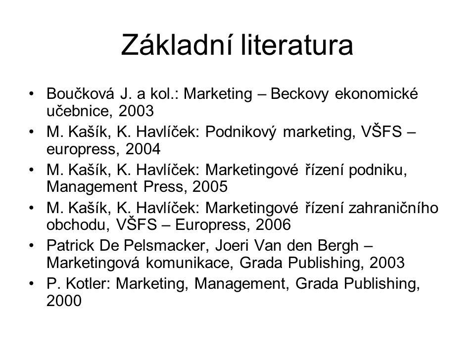 Základní literatura Boučková J. a kol.: Marketing – Beckovy ekonomické učebnice, 2003.