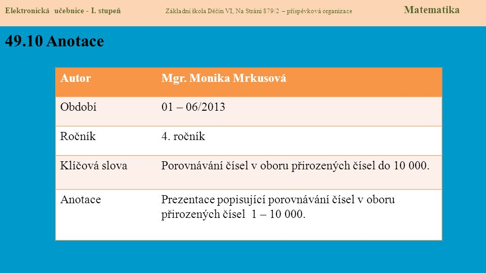 49.10 Anotace Autor Mgr. Monika Mrkusová Období 01 – 06/2013 Ročník