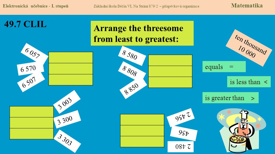 49.7 CLIL Arrange the threesome from least to greatest: ten thousand