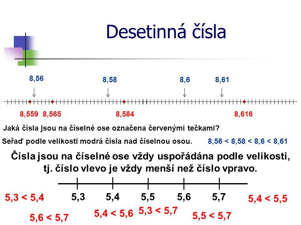 Desetinná čísla 8,56. 8,58. 8,6. 8,61. 8,559. 8,565. 8,584. 8,616. Jaká čísla jsou na číselné ose označena červenými tečkami