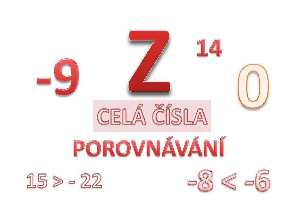 Z 14 -9 CELÁ ČÍSLA POROVNÁVÁNÍ -8 < -6 15 > - 22