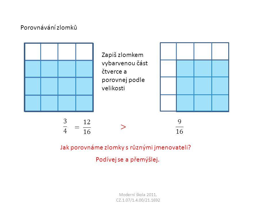 > Porovnávání zlomků