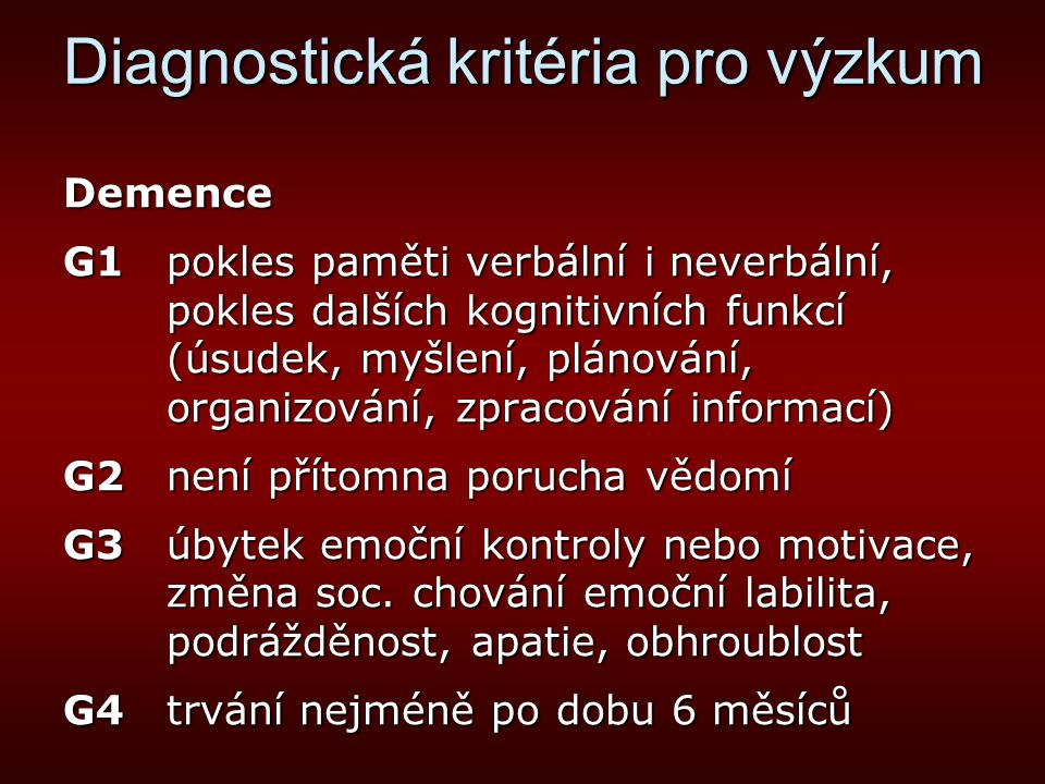 Diagnostická kritéria pro výzkum