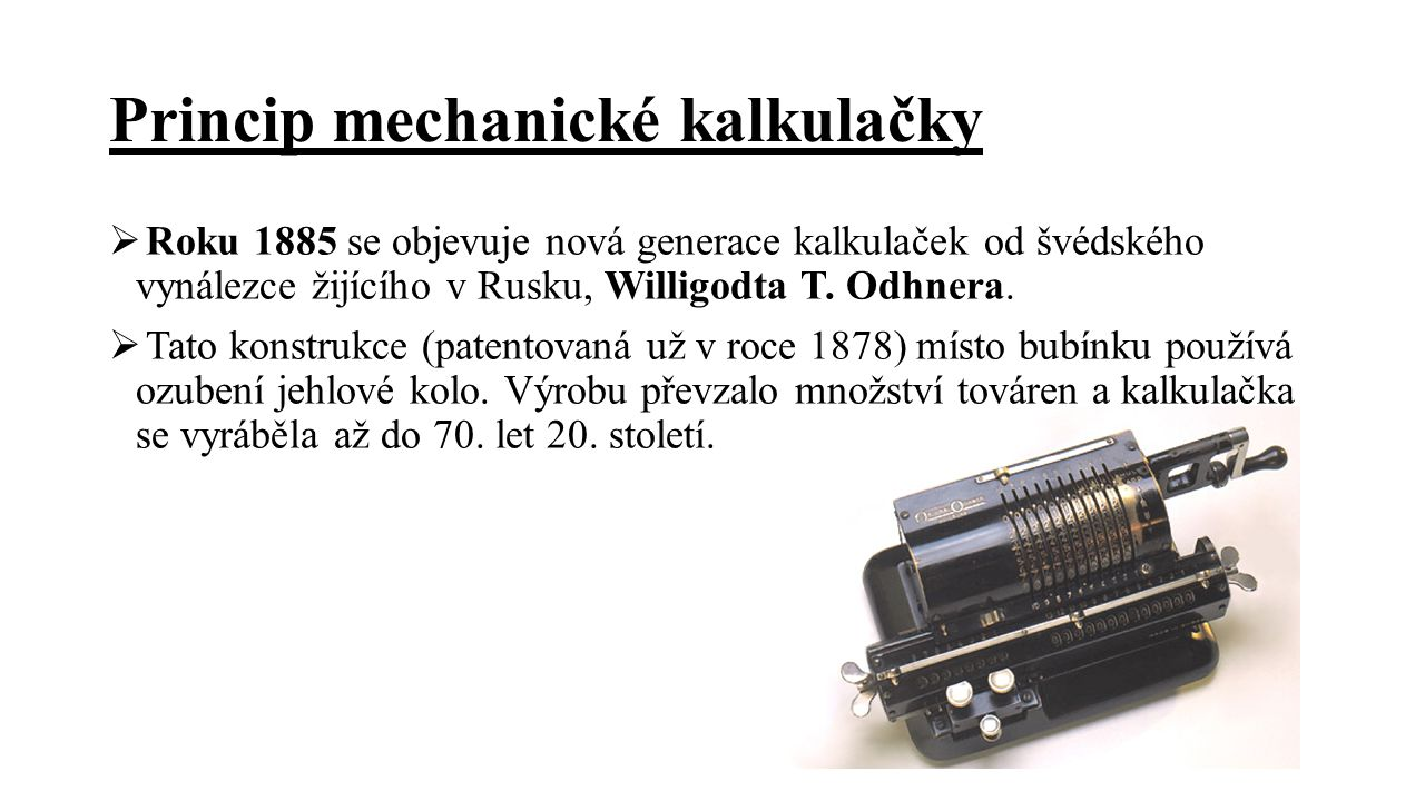 Princip mechanické kalkulačky