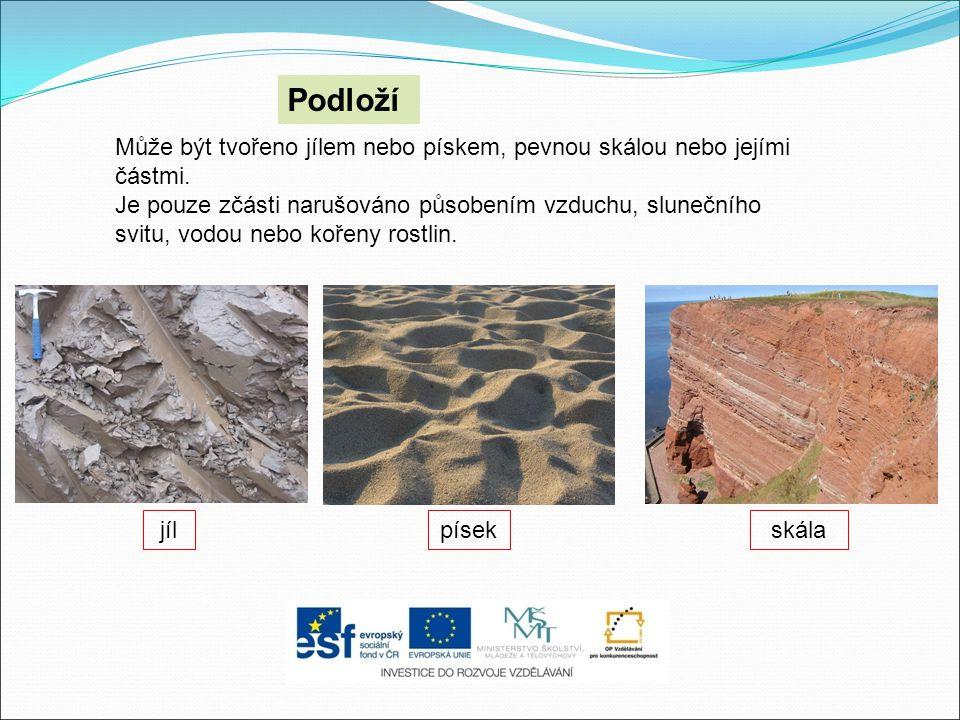 Podloží Může být tvořeno jílem nebo pískem, pevnou skálou nebo jejími částmi.