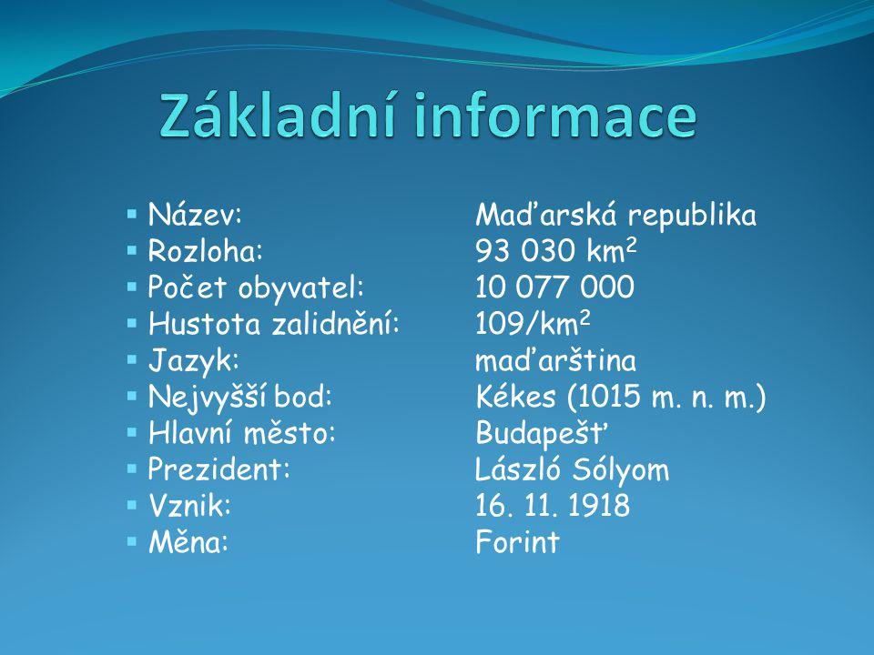 Základní informace Název: Maďarská republika Rozloha: 93 030 km2