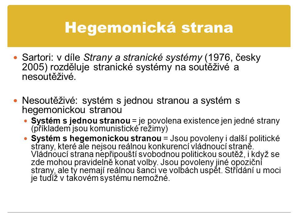 Hegemonická strana Sartori: v díle Strany a stranické systémy (1976, česky 2005) rozděluje stranické systémy na soutěživé a nesoutěživé.