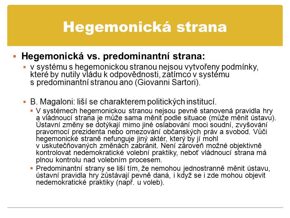 Hegemonická strana Hegemonická vs. predominantní strana: